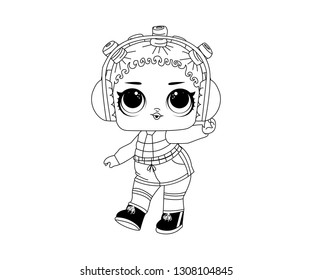 Line Art Outline LOL Icon Character Vector Image Emoji Earphone Style