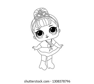Line Art Outline LOL Icon Character Vector Image Emoji Dance Style Cute Vector Illustration