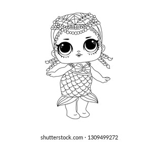 Line Art Outline LOL Icon Character Vector Image Emoji Mermaid Dance Style Cute Vector Illustration