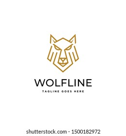line art outline wolf face head beast geometric logo icon vector template