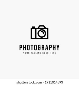 Line art photography minimalist logo vector illustration design