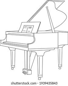 Line Art. Piano. Vector illustration.