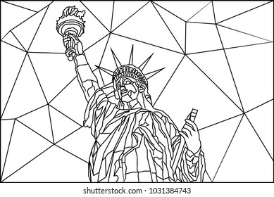 line art with polygon line background of statue of liberty at manhattan new york city