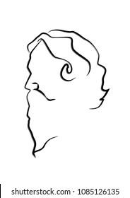 Line art of Rabindranath Tagore