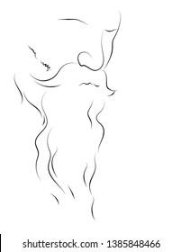 Line art of Rabindranath Tagore - vector graphic