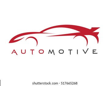 line art red sports car. automotive logo vector