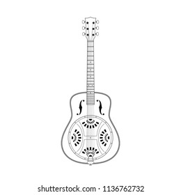 Line art of Resonator or Resophonic (Drobo) guitar vector.