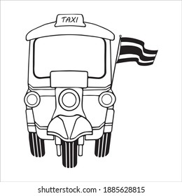 Line art for Retro Taxi Tricycle, Three wheels vehicle at Bangkok Thailand with Thai flag, traditional transport tourism style symbol, front view, doodle cartoon icon