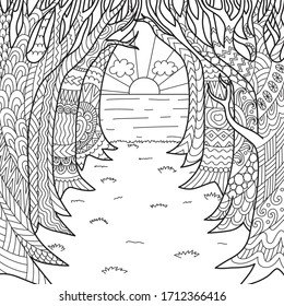 Line art the road under the trees leads to the sea and sunset, for adult coloring page and print on product. Vector illustration