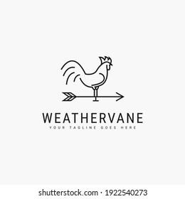 Line art rooster weathervane minimalist logo vector illustration design