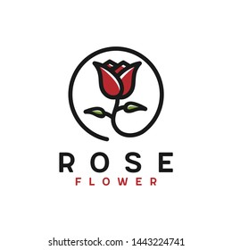 Line art rose logo design with color. Beauty and fashion logo