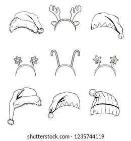 Line art set collection of Christmas hats and headbands