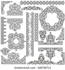 Line art set. Decorative frames for your design isolated on the white. Vector illustration.