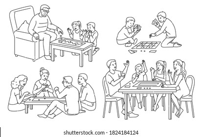 Line art set of people characters playing board games together, cartoon vector illustration isolated on white background. Home leisure games for friends and family.