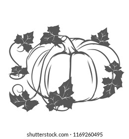Line art silhouette of a pumpkin with leaves.