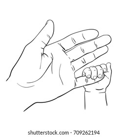 Line art sketch of baby tiny hand holding mother finger, Happy maternity concept of love and family, Hand drawn vector illustration isolated on white background