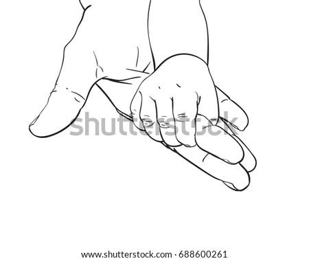 Line Art Sketch Baby Tiny Hand Stock Vector Royalty Free 688600261