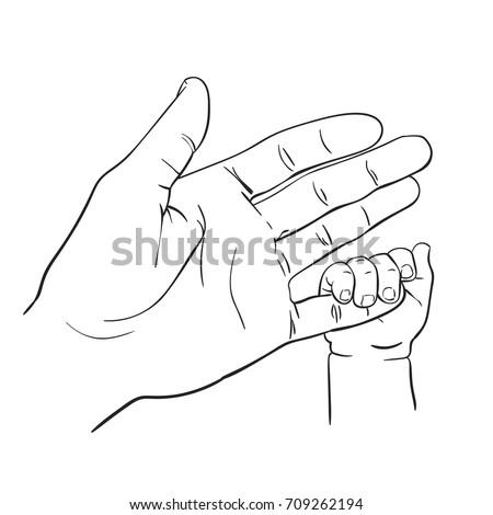 Line Art Sketch Baby Tiny Hand Stock Vector Royalty Free 709262194