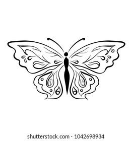 Line Art Sketch of beautiful butterflies