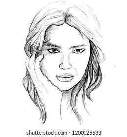 line art sketch of beautiful girl portrait