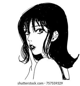line art sketch of beautiful girl worried looking back