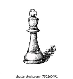 Line Art Sketch of Chess piece Known As The King.