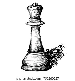 Line Art Sketch of Chess piece Known As The Queen.