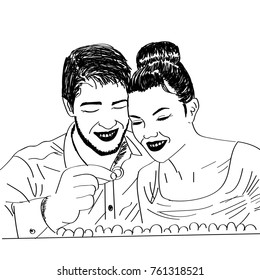 line art sketch of couple buying rings
