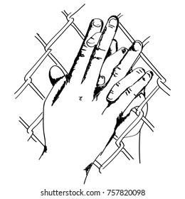 line art sketch couple holding hands through net