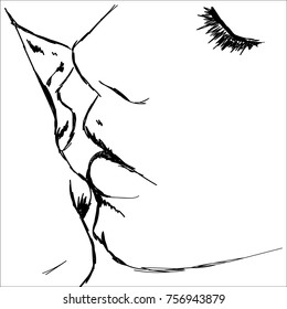 line art sketch of couple kiss close up