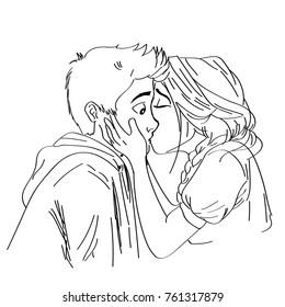 Line art sketch of couple kissing lips