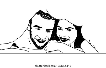 line art sketch of couple laughing under the quilt.