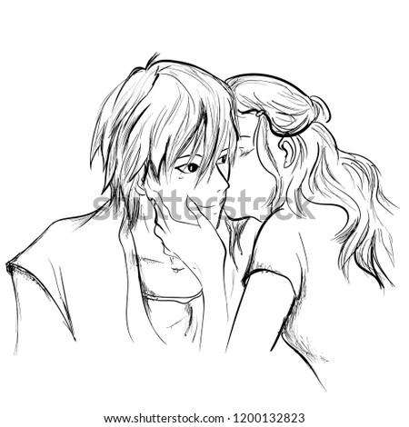 Cute Kissing Sketch Www Picturesboss Com