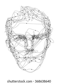Line art sketch drawing of man's face
