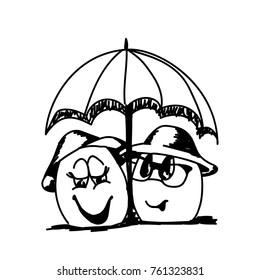 line art sketch of egg cartoons under umbrella