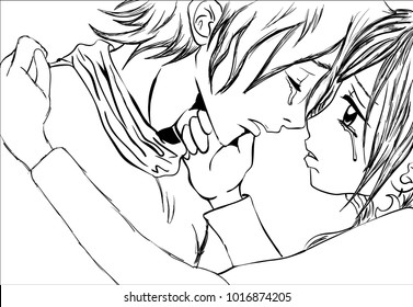 Line art sketch of emotional and sad couple crying, close up