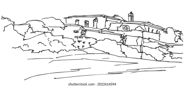 Line art sketch of The Fort of Santa Catarina, a medieval fort along the coast, Portimao, Algarve, Portugal