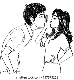 line art sketch of a girl not letting boy kiss