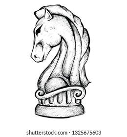Line Art Sketch of Knight Chess Piece.