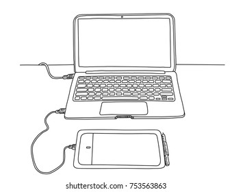 Line art sketch of macbook isolated illustration