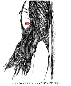 Line art Sketch of sad girl with red lips