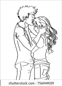 line art sketch of young beautiful couple kiss on forehead
