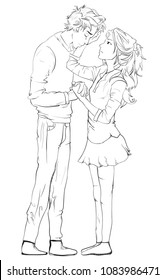 line art sketch of Young couple Consolidating