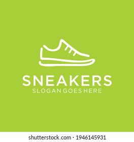 Line art sneaker shoe Logo Design on green background