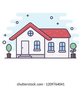 Line art style. House ilustration vector background. home concept.