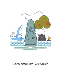Line art styled vector illustration of a Jeju island symbols: stone Grandfather (dol hareubang), jeju black pig, snail, persimmon tree and waterfall. Great as travel poster, flyer or banner template.