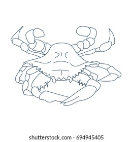 Line Art Styled Vector Illustration: Maryland or Baltimore crab, Atlantic blue crab, or the Chesapeake bay crab also called Callinectes sapidus.