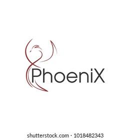 Line art. Stylized phoenix
