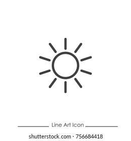 Line Art Sun Icon Using For Your Presentation, Website And Application