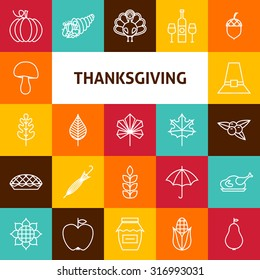Line Art Thanksgiving Day Holiday Icons Set. Vector Collection of 25 Modern Line Icons for Web and Mobile. Thanksgiving Dinner Traditional Bundle